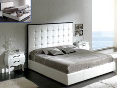 Dupen Penelope Bed White - Bed PU Leather, Storage platform.