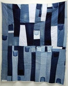 Gee's Bend Quilts, Loretta Bennett Strip Quilt, x at Elizabeth Leach Gallery Interesting way to use those old jeans Boro, Patchwork Quilting, Strip Quilts, Quilt Blocks, Blue Jean Quilts, Denim Quilts, Gees Bend Quilts, African Quilts, Denim Art