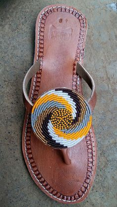 pendo maasai sandals / tribal sandals / beaded sandals by afribead