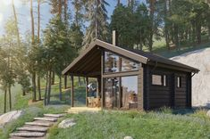 This small sauna building is a stylish annex to any contemporary holiday home or residential house. Rest House, Timber House, Ceiling Height, Bedroom Loft, Construction, Aesthetic Photo, Log Homes, Scandinavian Style, Glamping