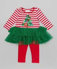 Another great find on #zulily! Marmellata Red & Green Tree Dress & Leggings - Kids by Marmellata #zulilyfinds