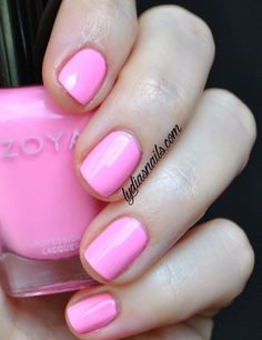 I am OBSESSED with this polish! Its so bright in person, almost like a neon bubblegum pink. Zoya Kitridge http://www.zoya.com