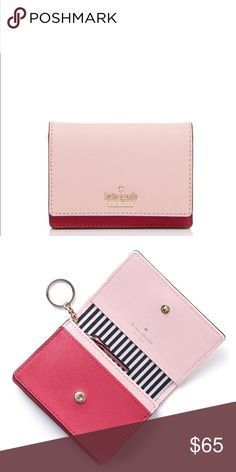 """Kate Spade Wallet 5.26.17 Saffiano leather. Imported. Snap closure; lined. Exterior ID window, two interior slip compartments, two interior slip pockets, interior zip pocket.Logo plaque on front. 4.5""""W x 1""""D x 3.5""""H. Reasonable Offers  Bundle For Additional Savings Measurements Unless From Manufacturer Offers On Final Price! PP Trades Holds Sales On Other Apps Questions Without Intent To Immediately Purchase Don't Like This Listing If You've Liked It Before And Didn't Buy It  Cheers kate…"""