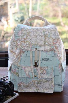 World Map Prints Backpack/Large Backpack/Travel,School,Daily Backpack/Unisex  Rucksack /Earth /. $90.00, via Etsy.