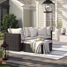 Three Posts Burruss Patio Sectional with Cushions Frame Color/Cushion Color: Brown Frame/Cream Cushion Patio Daybed, Patio Chairs, Woodsy Decor, Outdoor Decor, Outdoor Sofas, Outdoor Daybed, Outdoor Furniture Covers, Sectional Furniture, Sofa Set