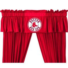 """Boston Red Sox Valance by Sports Coverage. $26.99. Boston Red Sox Valance. Complete any fans bedroom or den with this great Boston Red Sox valance. Made of ultra soft washable microsuede fabric with a logo in the center of the valance. The pleated valance is 50"""" x 15"""". Made by Sports Coverage Inc."""