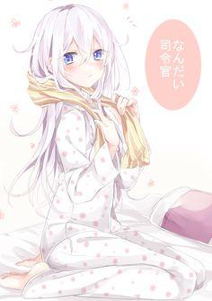 """sweetmonia: """"Source """" anime girl, , sleepy, , white hair, , blue eyes, , pajamas, , cute, , blushing"""