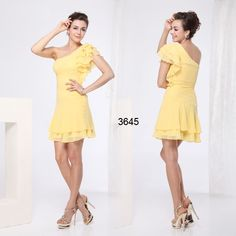 One Shoulder Chiffon Yellow Padded Short Bridesmaid Dress Worldwide Shipping - Bridal and Bridesmaid Dresses Cheap Party Dresses, Wedding Party Dresses, High Low Bridesmaid Dresses, Dress First, Yellow Dress, Chiffon Dress, Evening Dresses, Short Sleeve Dresses, Gowns