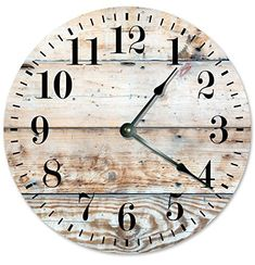"RUSTIC CLOCK Decorative Round Wall Clock Home Decor Wall Clock Large 10.5"" Novelty Clock PRINTED LIGHT TAN WOOD LOOK  #10.5 #Clock #Décor #Decorative #Home #Large #Light #Look #Novelty #Printed #Round #Rustic #RusticWallClock #Wall #Wood The Rustic Clock"