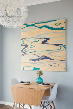 diy painted wood art, gray walls, ikea chandelier, bamboo table, a beautiful bright coastal eating nook