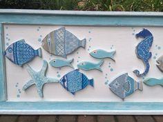 Wood School of Fish Wall Art Headboard Sign by CastawaysHall