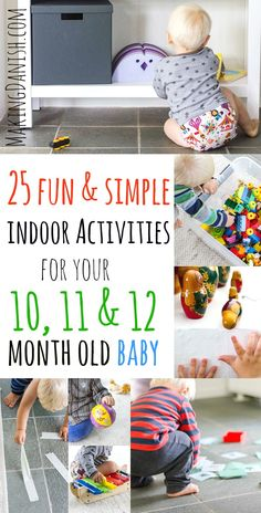 25 fun indoor activities for your 11 and 12 month old baby that require very. - 25 fun indoor activities for your 11 and 12 month old baby that require very little preperation. Perfect for a fast set-up on rainy days - ? Activities For 1 Year Olds, Indoor Activities For Toddlers, Rainy Day Activities, Infant Activities, Children Activities, Summer Activities, Toddler Fun, Toddler Learning, 11 Month Old Baby