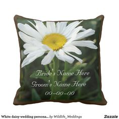 Shop White daisy wedding personalized with name throw pillow created by Wildlife_Weddings. Daisy Wedding, Wedding Pillows, Custom Pillows, Personalized Wedding, Your Design, Groom, Names, Throw Pillows, Make It Yourself