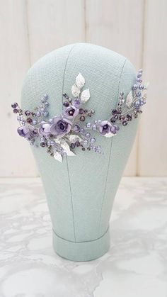 This beautiful handmade bridal hair piece made with purple crystals, silver tiny leaves, handcrafted violet flowers and lavender glass pearls. Complement most wedding hairstyles. It is the perfect…More Lilac Wedding Flowers, Wedding Flower Girl Dresses, Flower Crown Wedding, Flower Bouquet Wedding, Purple Wedding, Hair Flowers, Dream Wedding, Bridal Headpieces, Bridal Hair