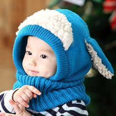 Dealzip Blue Super Cute Puppy Design Unisex Baby Infant Winter Warm Knitted  Hooded Scarf Neck Warmer 1f821964c192