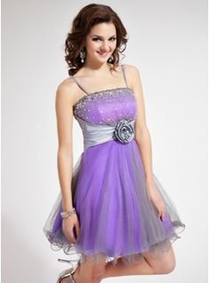 A-Line/Princess Short/Mini Taffeta Tulle Homecoming Dress With Lace Beading Flower(s) Sequins (022010074) - JJsHouse