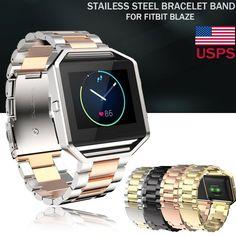 Fashion Stailess Steel Bracelet Strap Watch Band For Fitbit Blaze Smart Watch Us
