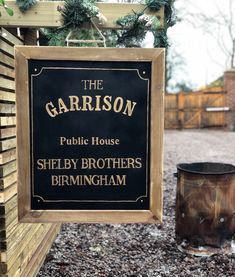 Excited to share this item from my shop: Peaky Blinder pub sign and range of decor suitable for a Peaky Blinder wedding or party. Pub Signs, Wood Signs, Peaky Blinders Theme, Scaffolding Wood, The Garrison, Black Gold Jewelry, New Years Eve Party, Party Themes, Party Ideas