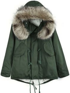 Army Green Faux Fur Hooded Drawstring Coat US$43.61