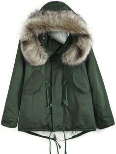 Army Green Faux Fur Hooded Drawstring Coat zł139.73