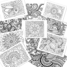 paisley doodle pattern wave weave sea curl swirl flourish shell flower fish floral ornament coloring book N1 + FREE page PDF digital by NDhandMadeCreations on Etsy