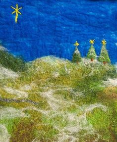 Winter Scene    Hand Felted Winter Scene with needle felted detail.
