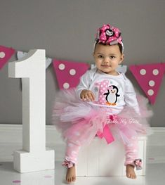 Pink Penguin with Snowflakes Themed Winter ONEderland Winter Themed Birthday Tutu Outfit-Penguin Party Outfit *Bow/Legwarmers NOT Included* Penguin Birthday, Penguin Party, Birthday Tutu, 1st Birthday Girls, 1st Birthday Parties, Frozen Birthday, Fete Emma, Birthday Photos, Birthday Ideas