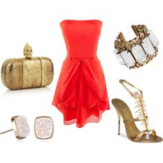 pretty coral dress with bold, gold accessories, created by spress1