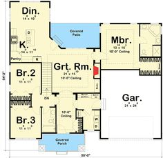 Craftsman Ranch House Plan - 62565DJ | 1st Floor Master Suite, CAD Available, Craftsman, Northwest, PDF, Ranch, Split Bedrooms | Architectural Designs