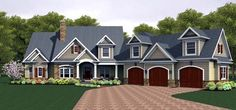 House Plan 54094   Plan with 3247 Sq. Ft., 4 Bedrooms, 4 Bathrooms, 3 Car Garage at family home plans ( exterior.  1ist fl layout