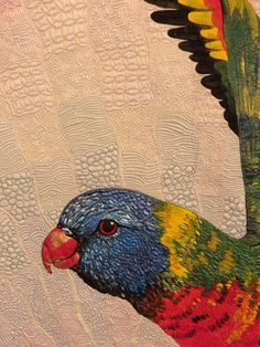 "close up, ""Rainbow Lorikeet"" by Helen Godden, Latham, ACT, Australia.  Photo by Joen Wolfrom, 2012 IQA Show."