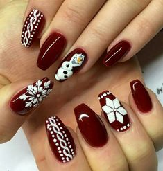 27 Festive and easy Christmas nail art designs you must see and try this holiday season.Capture the holiday spirit with these Christmas nail art ideas. Nail Art Noel, Red Nail Art, Art Nails, Christmas Nail Art Designs, Holiday Nail Art, Christmas Nail Designs Easy Simple, Christmas Design, Christmas Christmas, Holiday Nails 2018