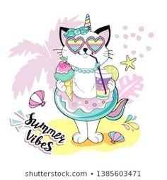 Funny cat with a circle of flamingos and the inscription Summer vibes Tropical Girl, Summer Cookies, Diy Mugs, Journal Design, Go To Sleep, Illustrations And Posters, Funny Cats, Pattern Design, Marie