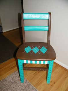 Repurposed chair.   Painted to match my nieces bedroom.