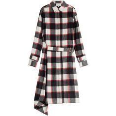 3.1 Phillip Lim Wool-Angora Plaid Shirt Dress ($795) ❤ liked on Polyvore featuring dresses, multicolor, belted shirt dress, wool dress, tartan dress, long sleeve shirt dress and belted dress