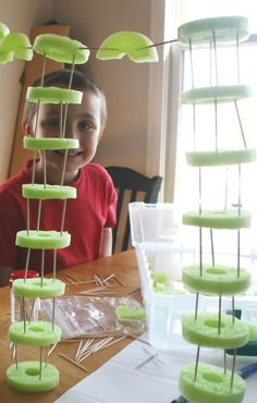 Building Pool Noodle Structures With Toothpicks - Simple Summer Engineering Idea for kids / Little Bins for Little Hands