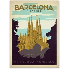Trademark Fine Art Barcelona, Spain Canvas Art by Anderson Design Group, Size: 14 x 19, Multicolor