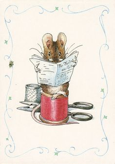 Beatrix Potter sewing mouse.