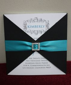 Turquoise and Black Sweet 16 Invitation  -  FULLY CUSTOMIZABLE. $4.00, via Etsy.