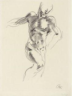 "Male Figure (Männliche Figur)  Georg Kolbe (German, 1887–1947)    (c. 1927-37). Crayon on paper, 15 3/8 x 11 1/2"" (39.1 x 29.2 cm). Gift of A. Conger Goodyear. © 2012 Georg Kolbe / Artists Rights Society (ARS), New York / VG Bild-Kunst, Germany"