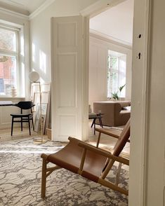 Sunny days spent at home - with beautiful interior. Samurai Chair, Buffalo Chair and Fin Side Table pictured in bright Copenhagen apartment. Hygge, Copenhagen Apartment, Interior Decorating, Interior Design, White Doors, Living Room Interior, Beautiful Interiors, Sunny Days, Interior Inspiration