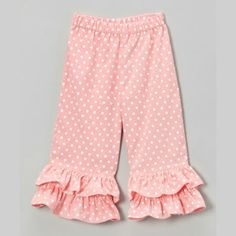 12/09/2013  Light Pink Polkadot Cord Ruffle Pants