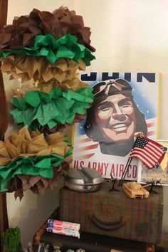 Themed decor at a Military party!  See more party ideas at CatchMyParty.com!