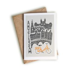 Amsterdam A6 Card, Blank Greeting Card, World Cities, Dutch Art, Architecture Design, Anniversary Gift, Traveller Notecard