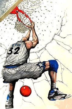 Basketball Drawings, Basketball Posters, Basketball Art, Basketball Leagues, African American Artist, American Artists, Kobe Bryant Michael Jordan, Army Training, Nba Pictures