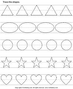 Basic Shapes Worksheets For Tracing Shape Worksheets For Preschool, Alphabet Tracing Worksheets, Shapes Worksheets, Preschool Writing, Preschool Learning Activities, Kindergarten Worksheets, Kindergarten Shapes, Kids Worksheets, Preschool Alphabet