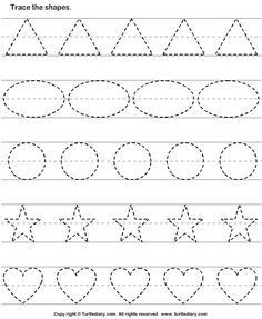 Basic Shapes Worksheets For Tracing Shape Worksheets For Preschool, Tracing Shapes, Alphabet Tracing Worksheets, Shapes Worksheets, Preschool Writing, Preschool Learning Activities, Kindergarten Worksheets, Tracing Lines, Kindergarten Shapes