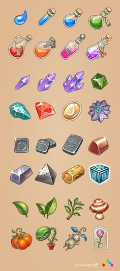 Icons for 2D game app Full set Stephane Baton
