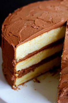 Classic Yellow Cake with Chocolate Frosting. This yellow cake recipe is a gem, so moist and buttery, and the chocolate frosting is whipped to perfection!