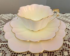C 1897 Wileman PRE Shelley Empire Shape Trio Pink AND Pale Yellow Tones 6506 | eBay